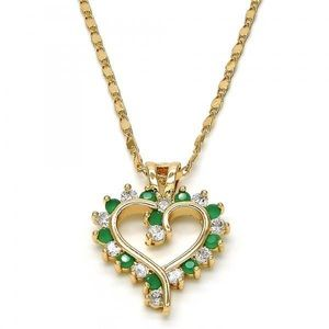 Jewelry - Gold filled green and white heart and necklace